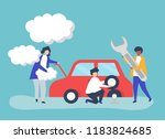 people exchanging a car tire   Shutterstock .eps vector #1183824685
