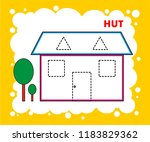 hut drawing coloring page... | Shutterstock .eps vector #1183829362