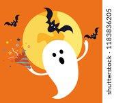 halloween ghost holding... | Shutterstock .eps vector #1183836205