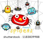 funny colorful spiders cartoon. ... | Shutterstock .eps vector #1183839988