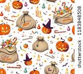 seamless pattern   pumpkins and ...   Shutterstock .eps vector #1183848508