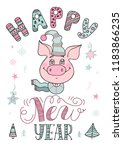 happy new year text  hand drawn ... | Shutterstock .eps vector #1183866235