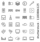 thin line vector icon set   pen ...   Shutterstock .eps vector #1183886125