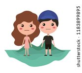 cartoon furious couple on field ... | Shutterstock .eps vector #1183899895
