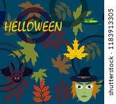 halloween autumn fallen leaves...   Shutterstock .eps vector #1183913305
