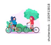 young couple riding bike... | Shutterstock .eps vector #1183913818