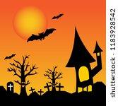 halloween scene background.... | Shutterstock .eps vector #1183928542