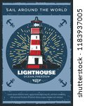 lighthouse at sea or ocean... | Shutterstock .eps vector #1183937005