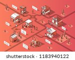 vector 3d isometric food courts ...