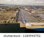 aerial view of logistics... | Shutterstock . vector #1183943752