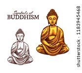 vector icon of golden buddha... | Shutterstock .eps vector #1183945468