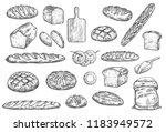 bread sketch and baker items.... | Shutterstock .eps vector #1183949572