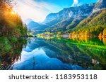 autumn sunset of hintersee lake.... | Shutterstock . vector #1183953118