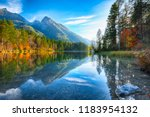 autumn sunset of hintersee lake.... | Shutterstock . vector #1183954132
