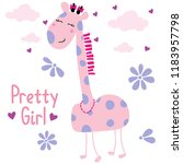 text baby girl tee flower cloud ...   Shutterstock .eps vector #1183957798