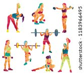 girl sport. girl fitness  gym ... | Shutterstock .eps vector #1183966495