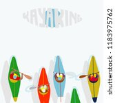 kayaking man vector. rafting.... | Shutterstock .eps vector #1183975762