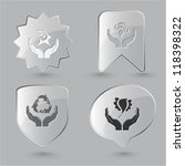 Animal icon set. Protection nature, deer in hands, bird in hands, bee in hands.  Glass buttons.