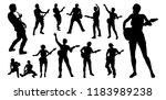 a set of guitarist musicians in ... | Shutterstock . vector #1183989238