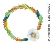watercolor colorful wreath of... | Shutterstock . vector #1183996312