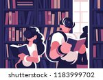 people read in library. concept ... | Shutterstock .eps vector #1183999702
