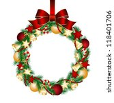 christmas wreath decoration... | Shutterstock . vector #118401706