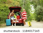 happy couple near car trunk...   Shutterstock . vector #1184017165