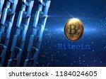 golden bitcoin digital currency ... | Shutterstock . vector #1184024605