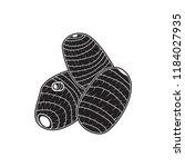 taro doodle icon flat black | Shutterstock .eps vector #1184027935