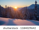 magic sunset in the winter...   Shutterstock . vector #1184029642