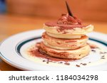 pancake with sweetened... | Shutterstock . vector #1184034298