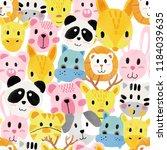 watercolour cute animal faces... | Shutterstock . vector #1184039635