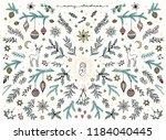 hand sketched floral design... | Shutterstock .eps vector #1184040445