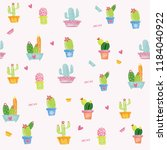 pastel cactus watercolour... | Shutterstock . vector #1184040922