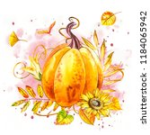 pumpkin. hand drawn watercolor... | Shutterstock . vector #1184065942