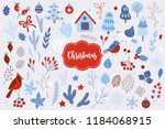 christmas design elements with... | Shutterstock .eps vector #1184068915