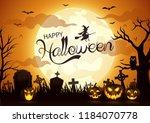 halloween night background with ... | Shutterstock . vector #1184070778