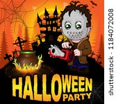 halloween party poster with... | Shutterstock .eps vector #1184072008