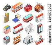 supermarket equipment and... | Shutterstock .eps vector #1184073202