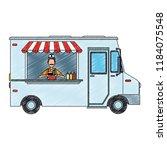 cargo van vehicle scribble | Shutterstock .eps vector #1184075548