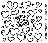 sketchy love heart illustration ... | Shutterstock .eps vector #1184085685