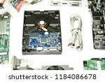 hard disk and usb data cable 2... | Shutterstock . vector #1184086678