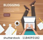 writing a story or column for... | Shutterstock .eps vector #1184093182