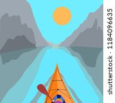 kayaking man vector. rafting.... | Shutterstock .eps vector #1184096635