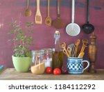kitchen utensils  herbs ...   Shutterstock . vector #1184112292