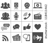media   social network icons.... | Shutterstock .eps vector #118411462