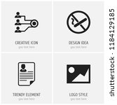 set of 4 editable office icons. ... | Shutterstock .eps vector #1184129185
