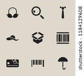 set of 9 editable shopping... | Shutterstock .eps vector #1184129608