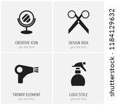 set of 4 editable barbershop... | Shutterstock .eps vector #1184129632