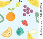 handmade watercolor tropical... | Shutterstock .eps vector #1184137225